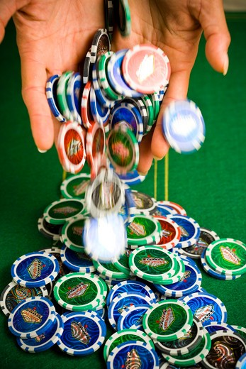Stock Photo: 4252-17640 Poker chips bet