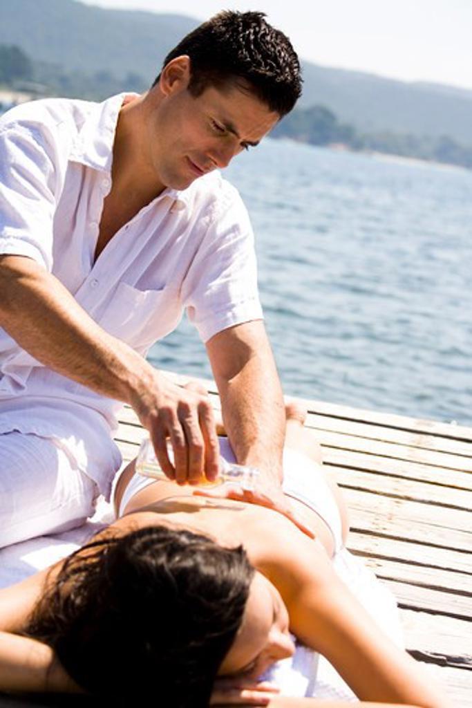 Couple massage : Stock Photo