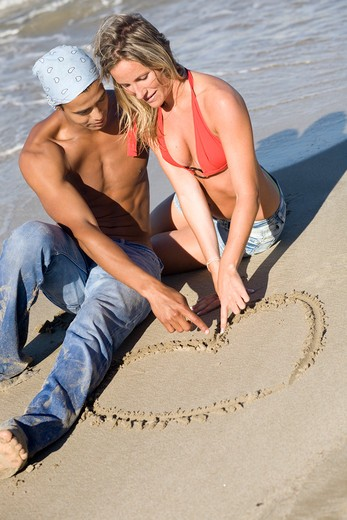 Stock Photo: 4252-17928 Couple heart drawing