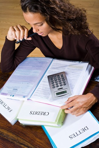 Stock Photo: 4252-18438 Woman taxes.