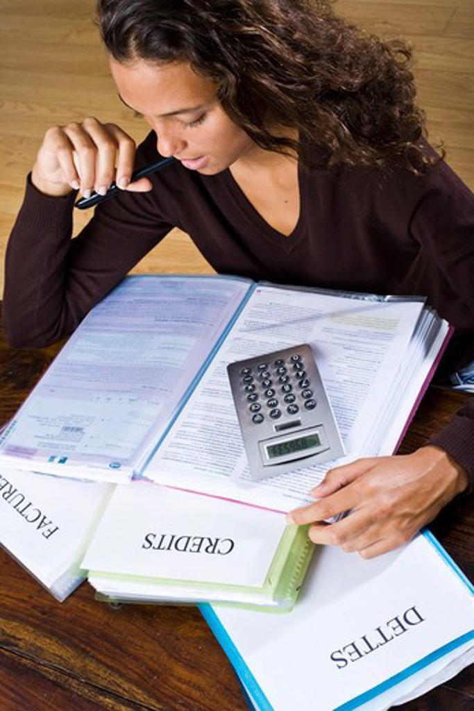 Woman taxes. : Stock Photo