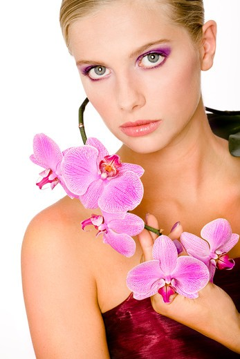 Stock Photo: 4252-18567 Woman beauty orchid.