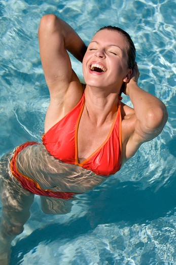 Woman swimming-pool. : Stock Photo