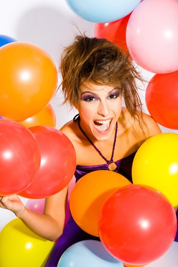Woman party ballons : Stock Photo