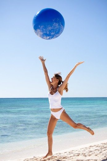 Woman beach energy : Stock Photo