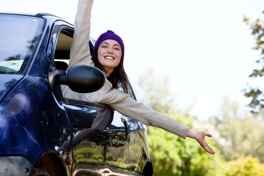 Stock Photo: 4252-19880 Woman happiness car