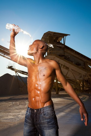 Stock Photo: 4252-20011 Man water refreshing