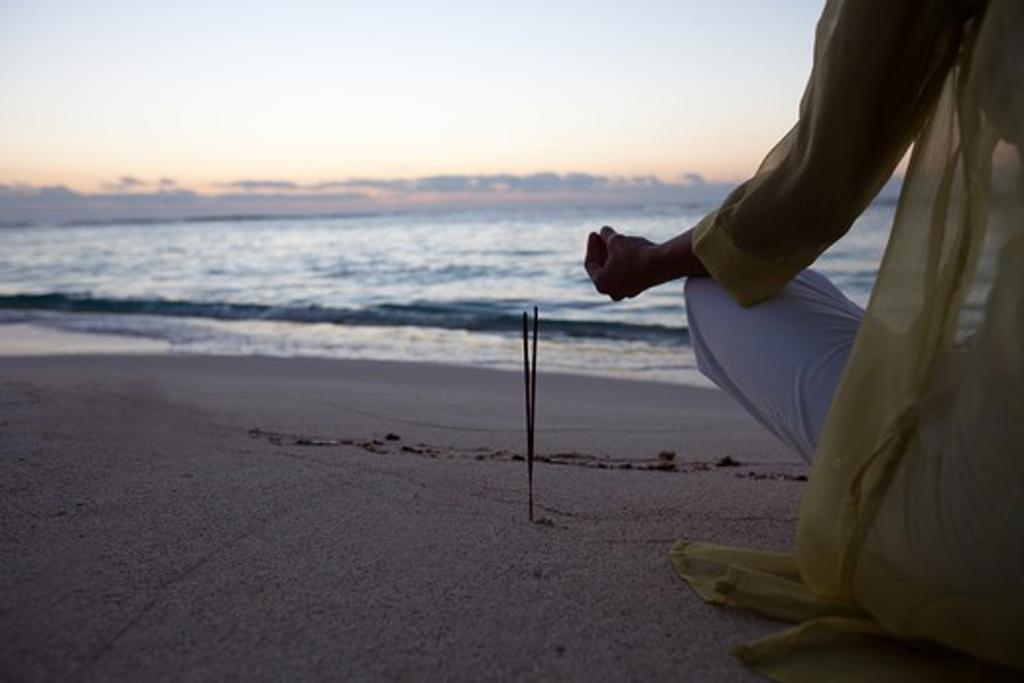 Woman beach yoga : Stock Photo