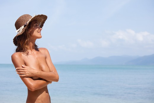 Woman beach well-being : Stock Photo