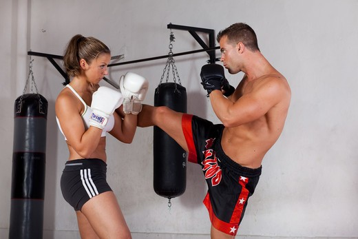 Stock Photo: 4252-21317 Man woman boxing