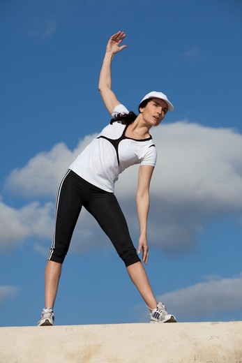 Woman warm-up sport : Stock Photo