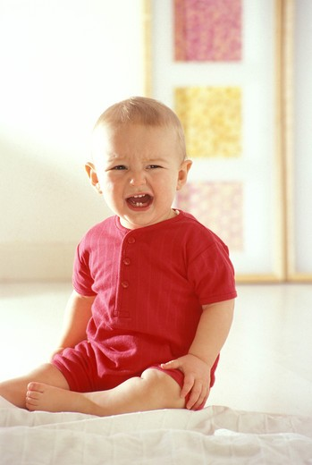Stock Photo: 4252-25253 children inside boy portrait baby crying teeth shouting sadness