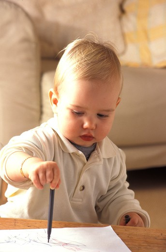 Stock Photo: 4252-25273 children inside boy baby writing drawing pen