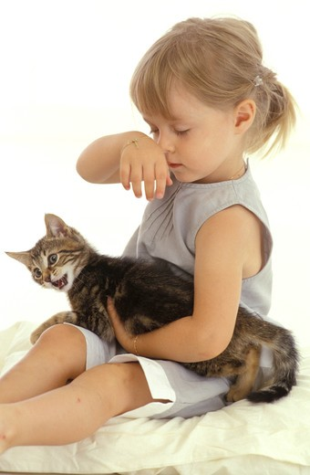 Stock Photo: 4252-25426 Child and kitten