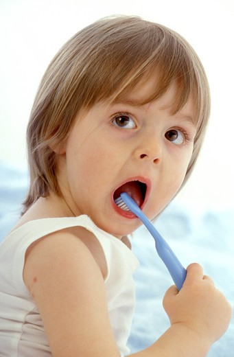 Stock Photo: 4252-25461 Child brushing her teeth