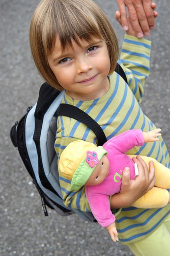 Little girl backpack : Stock Photo