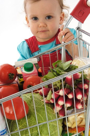 baby with trolley : Stock Photo