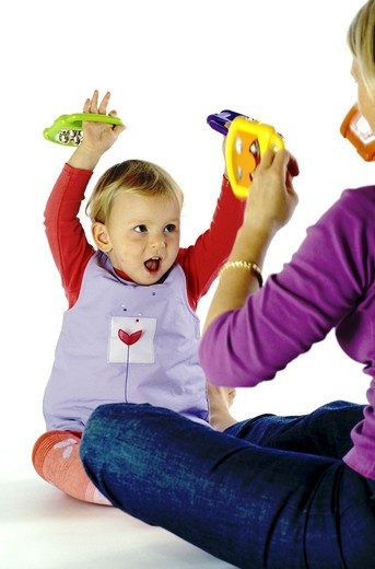 Stock Photo: 4252-26462 Mother and baby playing