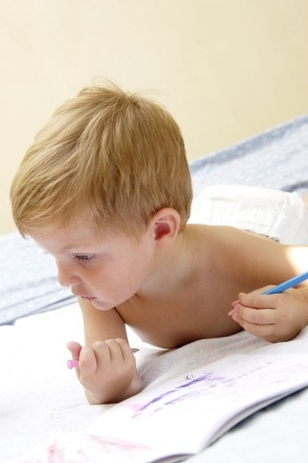 Stock Photo: 4252-27316 Little boy drawing