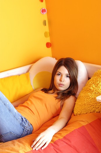 Stock Photo: 4252-28681 Laid down teenage girl