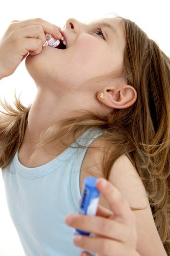 Little girl homeopathy. : Stock Photo