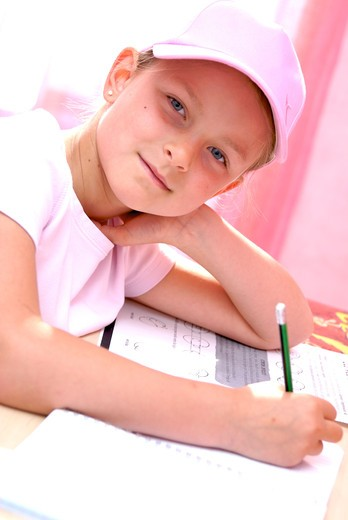Little girl homework : Stock Photo