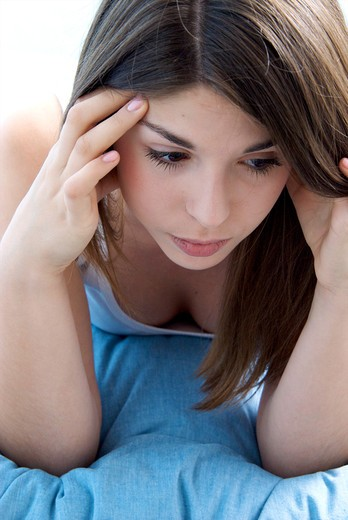 Teenage girl concentration : Stock Photo