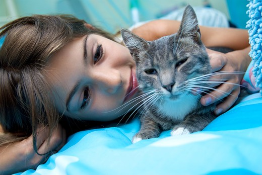 Stock Photo: 4252-31605 Teenage girl cat