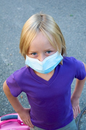 Stock Photo: 4252-32270 Girl anti-contagion mask