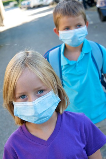Stock Photo: 4252-32271 School kids anti-contagion masks