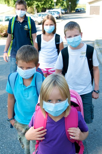 Children anti-contagion masks : Stock Photo