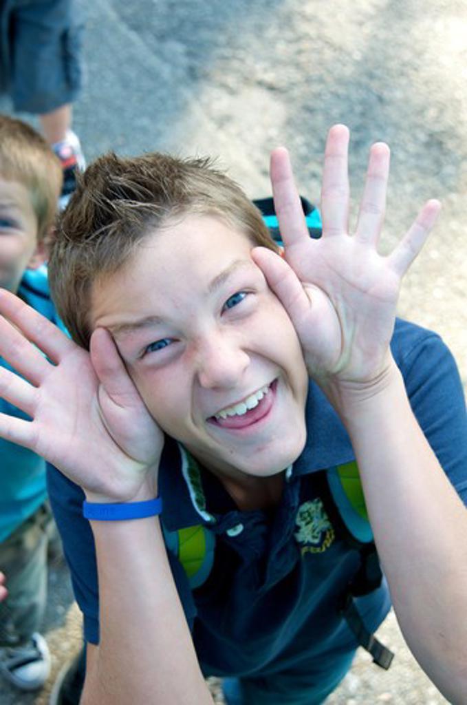 Teenage boy funny face : Stock Photo