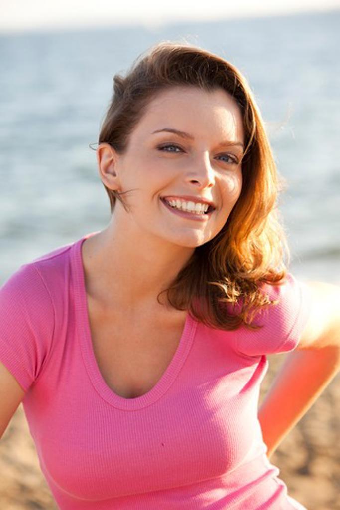 Stock Photo: 4252-32874 Woman beach portrait