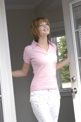 Woman window ventilate : Stock Photo