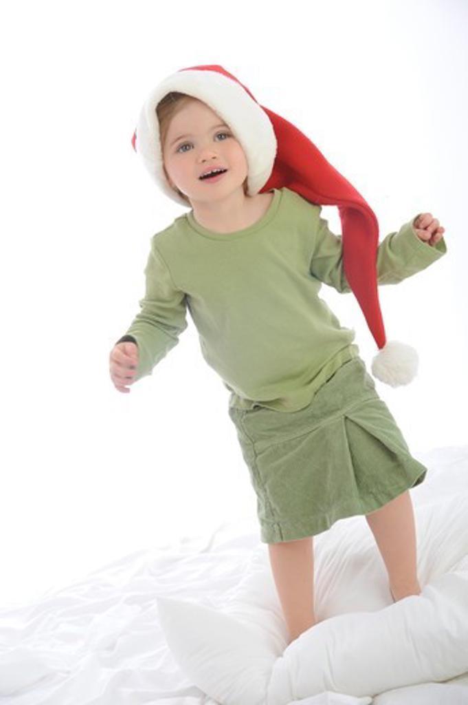 Stock Photo: 4252-5534 Little girl Christmas winter hat