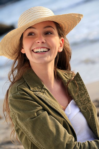 Stock Photo: 4252-7647 Woman straw hat