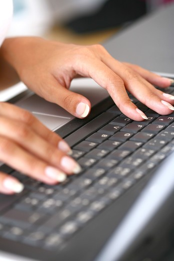 Stock Photo: 4252-9248 Woman hands keyboard