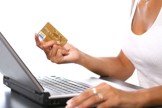 Stock Photo: 4252-9255 Woman e-buying