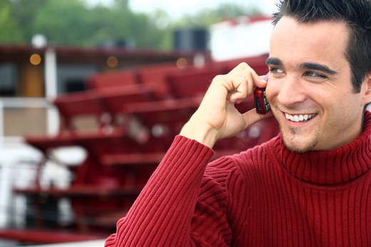 Stock Photo: 4252-9341 Man mobile phone