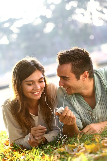 Stock Photo: 4252-9400 Couple music relaxing
