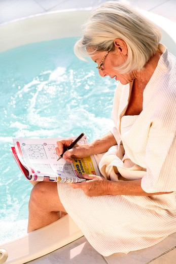 Stock Photo: 4252-9947 Senior woman relaxing