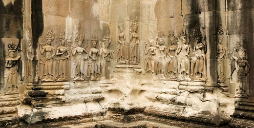 Cambodia, Angkor Wat Temple, Devata's bas relief : Stock Photo