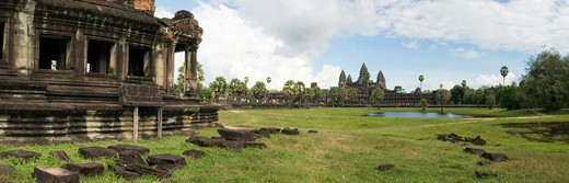 Cambodia, Panoramic image of Angkor Wat : Stock Photo