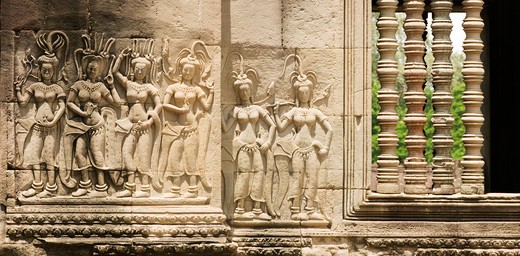Stock Photo: 4255R-1016 Cambodia, Angkor Wat, Panoramic of stone Devata sculptures