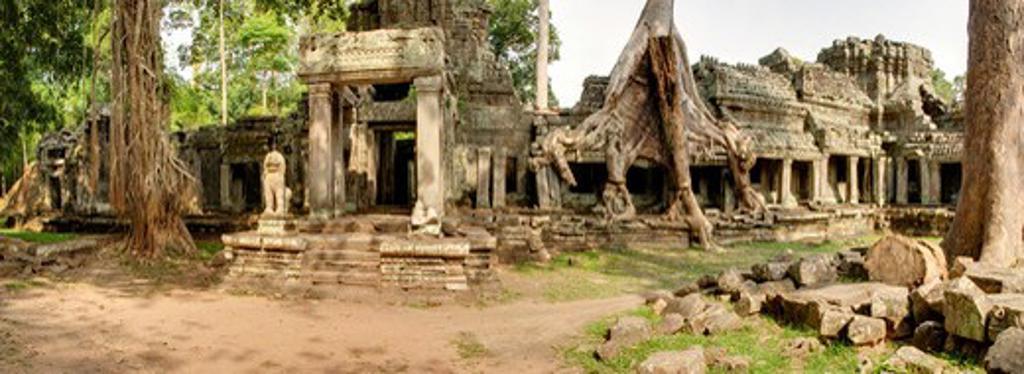 Cambodia, Angkor Wat, Panoramic image of Preah Kahn Temple : Stock Photo