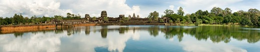 Cambodia, Angkor Wat, Panoramic image of moat and causeway : Stock Photo