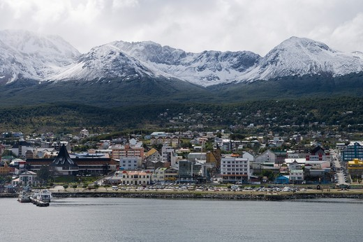 City and snow-covered mountains,Ushuaia, Tierra del Fuego, Patagonia, Argentina, South America : Stock Photo