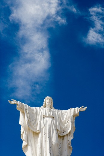 Christ Statue at entrance to Peninsula Valdes National Reserve,Peninsula Valdes, near Puerto Madryn, Chubut, Patagonia, Argentina, South America : Stock Photo