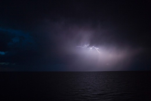 Dramatic lightning storm seen from cruise ship MS Deutschland (Reederei Peter Deilmann),South Atlantic Ocean, near Argentina, South America : Stock Photo