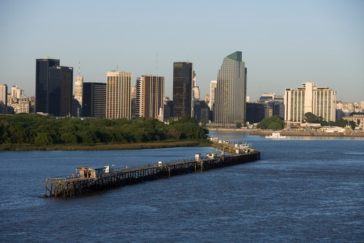 Pier and city skyline, Buenos Aires, Buenos Aires, Argentina, South America : Stock Photo